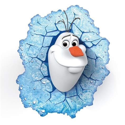 3D Olaf Through the Wall Stickers PVC Cartoon Home Decor for Kids Girls Rooms Decorative Wall
