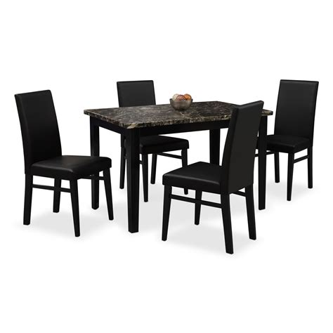 american signature dining table shadow table and 4 chairs black american signature