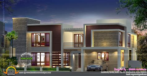 Contemporary house with double height living - Kerala home