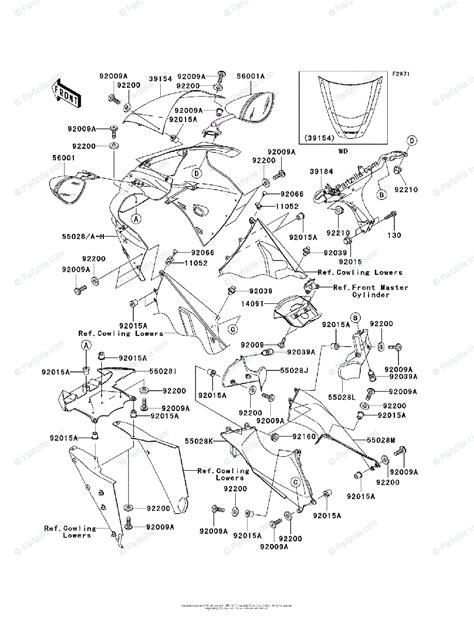 kawasaki motorcycle 2003 oem parts diagram for cowling partzilla