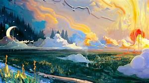 Download, Wallpaper, 1920x1080, Landscape, Art, Moon, Grass