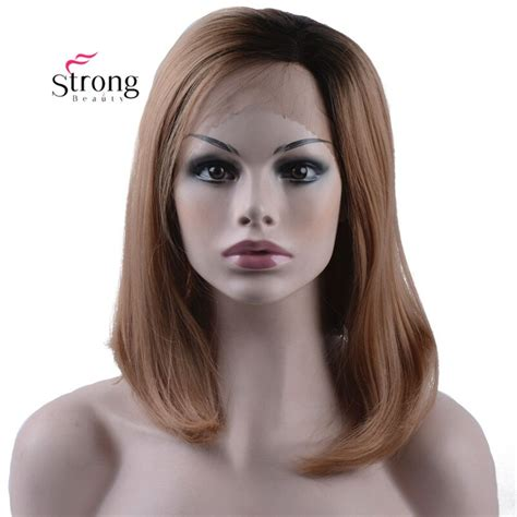 Strongbeauty Ombre Brown Short Bob Synthetic Hair Wigs