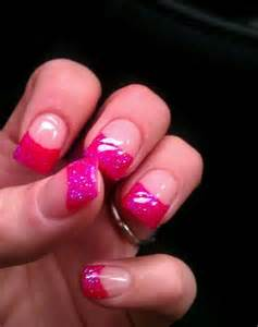 Pink Glitter French Tip Nails