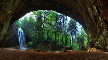 Cave Waterfall Forest Nature Stream Trees Landscape