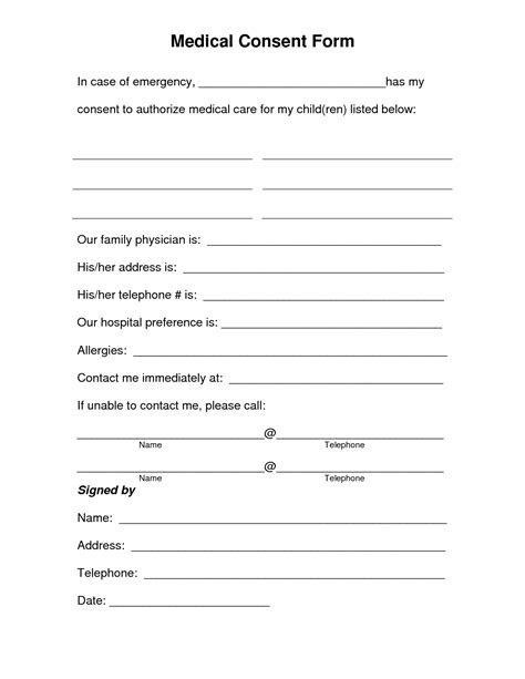 printable medical consent form  medical consent