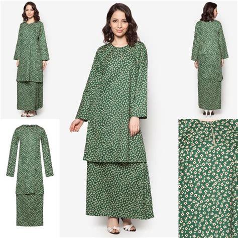 baju kurung cotton warna emerald green maroon baju raya