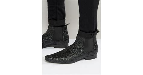 Asos Boots : Asos Chelsea Boots In Black Glitter