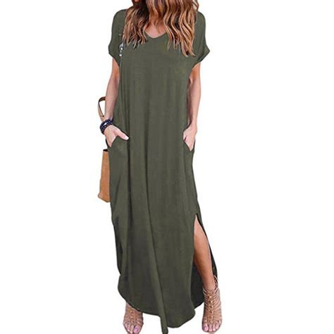 awesome  women casual  shirt long maxi dress split