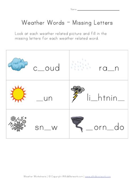 Weather Worksheet  Missing Letters