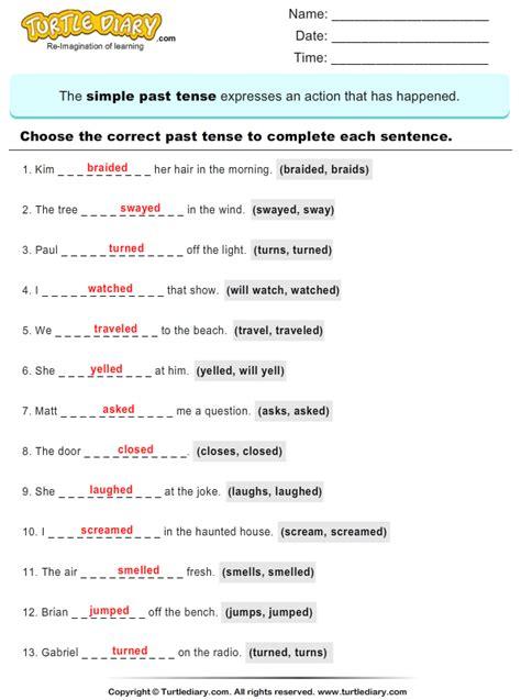write the past tense of verb turtlediary