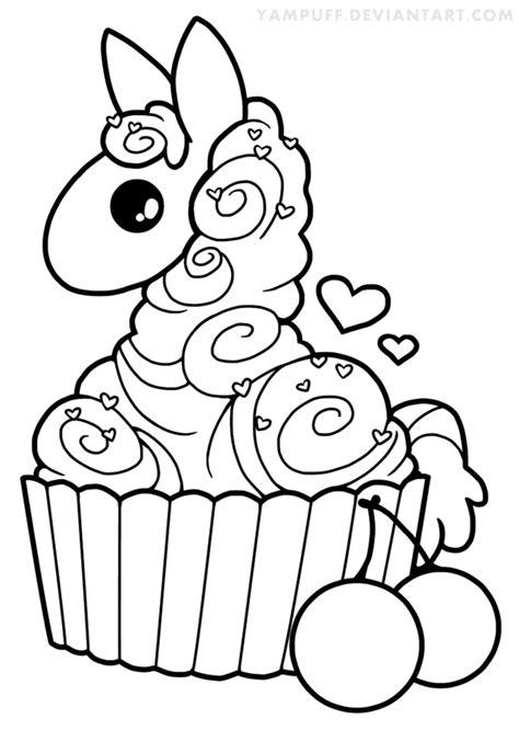 cupcake llama lineart  yampuff chibi coloring pages