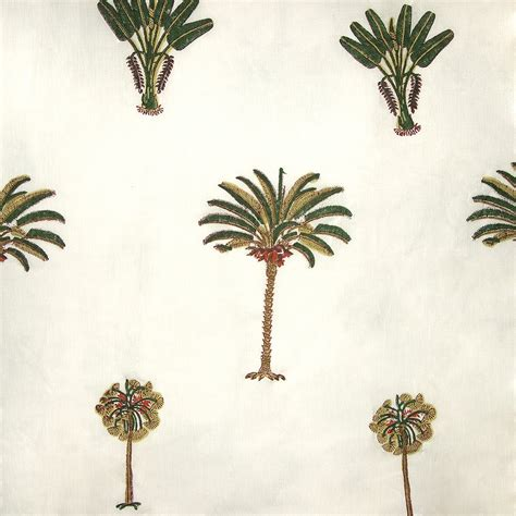 cotton fabric design 1 block printed with palm tree motif