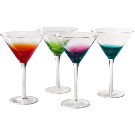 martini glass colorful martini glasses fizzy style set of 4 in glassware