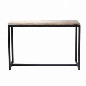 table console indus en metal et bois massif noire l 119 cm With maison du monde console