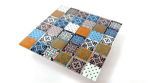 Mosaik Fliesen Küchenspiegel by K 252 Chenspiegel Glas Mosaik Fliesen Zementoptik Bunt Mix