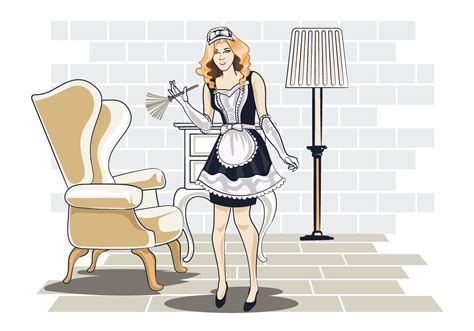 Vector Illustration of Woman in Classic Maid Dress Costume ...