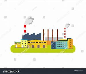Industrial Factory Buildings Icon Vector Flat Stock Vector ...