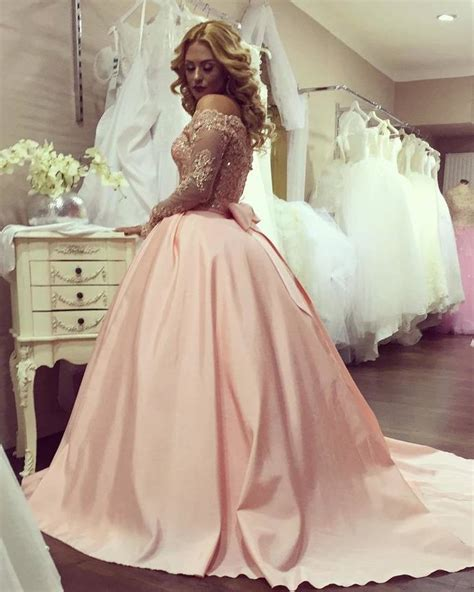 Ball Gown Off The Shoulder Gold Lace Bowknot Long Sleeves