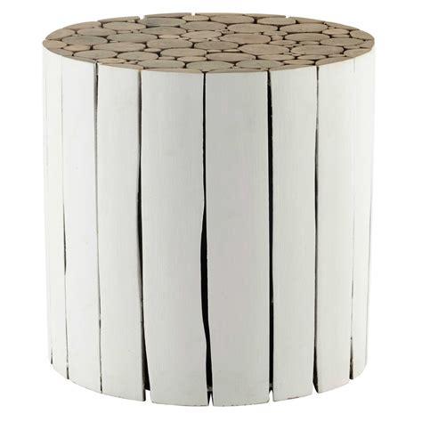 bout de canape bois bout de canapé en bois blanc d 41 cm didda maisons du monde