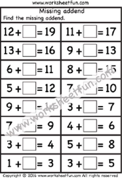 Addition  Missing Addend  Free Printable Worksheets Worksheetfun