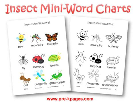 bugs and insects theme activities in preschool 970 | insect mini word charts