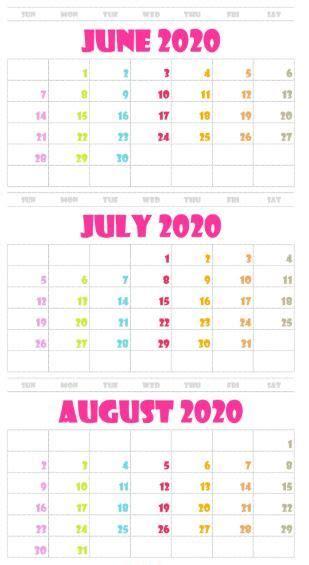june july august  calendar printable template