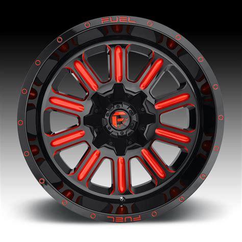 fuel hardline  black milled red tint custom wheels