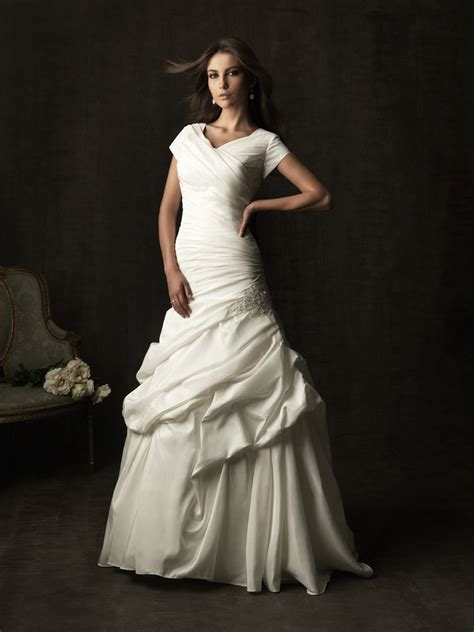 chapel train taffeta ruched modest wedding dress
