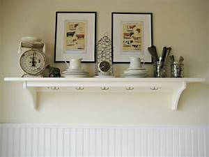 white wall shelves for effective storage in small kitchen With kitchen colors with white cabinets with wall hung candle holders