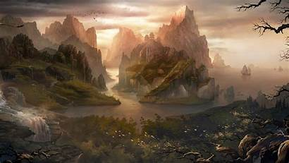 Fantasy Nature Landscape Digital Chinese Water Mountain