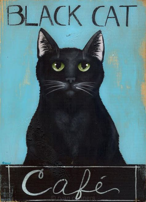 black cat cafe original folk art painting
