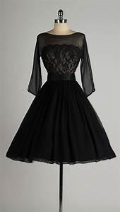 Vintage 1950s dress . black chiffon . lace illusion bodice ...