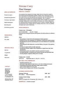 manufacturing plant manager resume exles plant manager resume production description cv