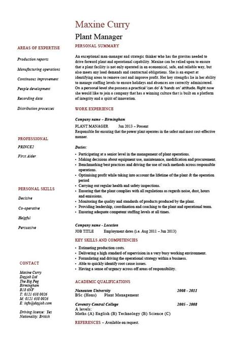 plant manager resume production job description cv