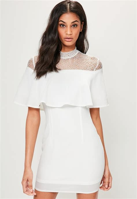 Missguided - White High Neck Lace Overlay Bodycon Dress ...