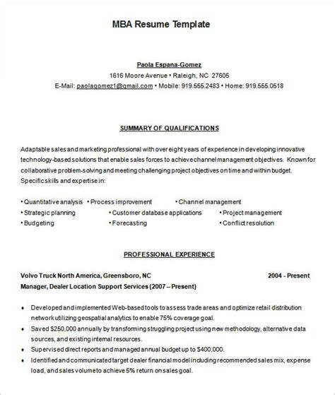 Mba Model Resume by Mba Resume Template 11 Free Sles Exles Format Free Premium Templates