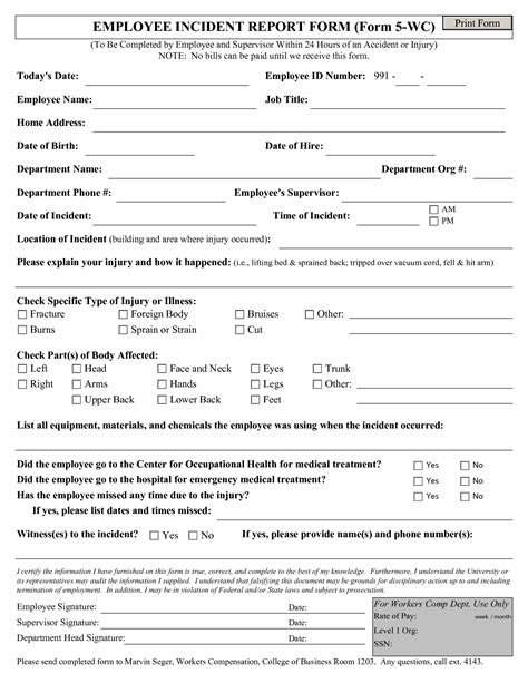 human resources incident report template