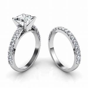 Cathedral princess cut engagement ring wedding band for Wedding and engagement ring set