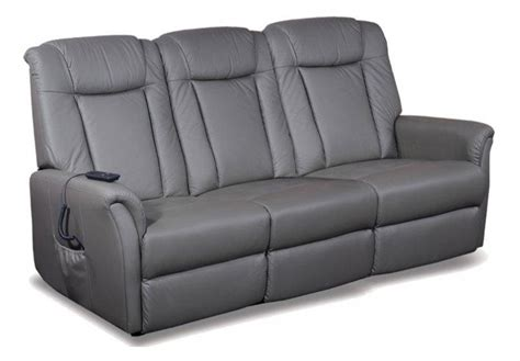 celeste canape 3 places relax electrique cuir vachette gris