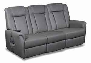 celeste canape 3 places relax electrique cuir vachette gris With canapé relaxation électrique 3 places