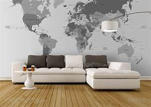 Planisphère Noir Et Blanc : papier peint poster carte du monde mcv1015fr ~ Melissatoandfro.com Idées de Décoration