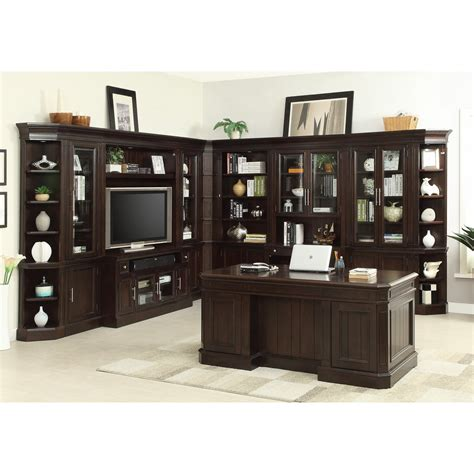 desk entertainment center combo parker house stanford 11pc office library entertainment
