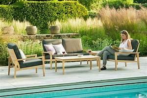 Salons De Jardins : canap lounge pour salon de jardin en bois avec coussin gris fonc haut de gamme la galerie ~ Teatrodelosmanantiales.com Idées de Décoration