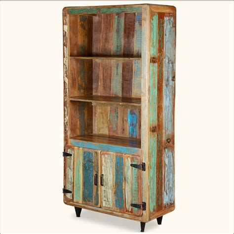 distressed wood bookcase retro reclaimed wood distressed rustic 72 quot open shelf