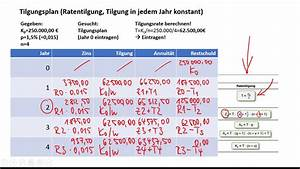 N Berechnen : tilgungsplan ratentilgung youtube ~ Themetempest.com Abrechnung