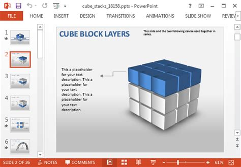 3 Dimensional Cube Template Editable 3d Cube Powerpoint Template With Animated