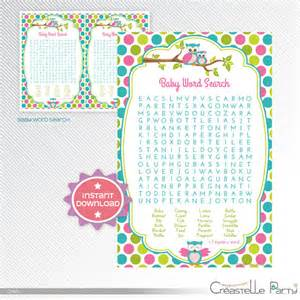 Owl Baby Shower Game Word Search Printable
