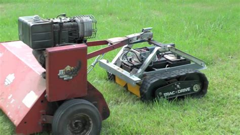 track robot  pull  flail mower youtube
