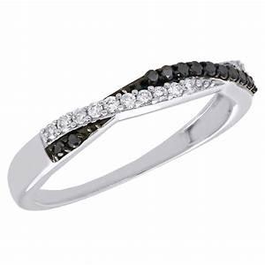 10K White Gold Black Diamond Anniversary Ring Ladies