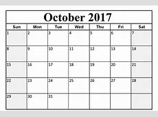 2017 October Month calendar Calendar And Images